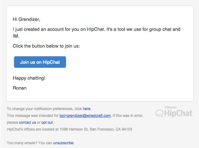 HipChat create user
